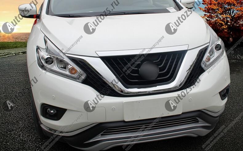 Накладка на кромку капота Nissan Murano Z52 2016+Хромированные накладки Nissan Murano 3 2016+<br>Молдинги относятся к наиболее распространенным элементам внешнего автомобильного тюнинга. Накладки на капот служат для маскировки различных дефектов, зонирования автомобиля и защиты поверхностей от царапин, скол...<br>