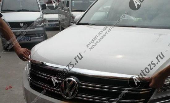 Накладка на кромку капота Volkswagen Tiguan 1 2011-2015Хромированные накладки Volkswagen Tiguan 1 2007-2016<br>Молдинги относятся к наиболее распространенным элементам внешнего автомобильного тюнинга. Накладки на капот служат для маскировки различных дефектов, зонирования автомобиля и защиты поверхностей от царапин, скол...<br>