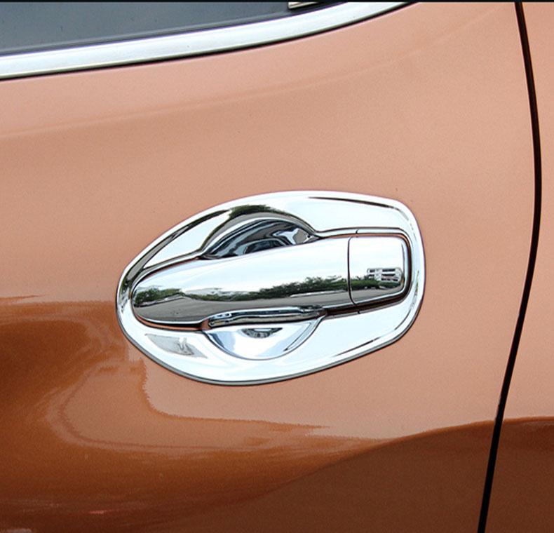 Накладки для ниш дверных ручек Nissan X-Trail T32 2015+Хромированные накладки Nissan X-Trail T32 2015+<br>Хромированные аксессуары используются для установки на ручки дверей и декоративного оформления других деталей кузова автомобиля. Накладки также выполняют защитную функцию, предотвращая возникновения мелких цара...<br>