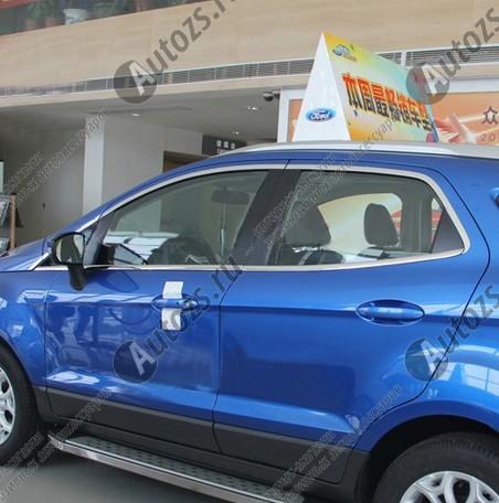 Молдинги окон Ford Ecosport 2014+ (14 молдингов)Хромированные накладки Ford Ecosport<br>Молдинги относятся к наиболее распространенным элементам внешнего автомобильного тюнинга. Аксессуары выполняются в виде небольших выпуклых планок для декорирования боковых окон автомобиля. Накладки на окна двер...<br>