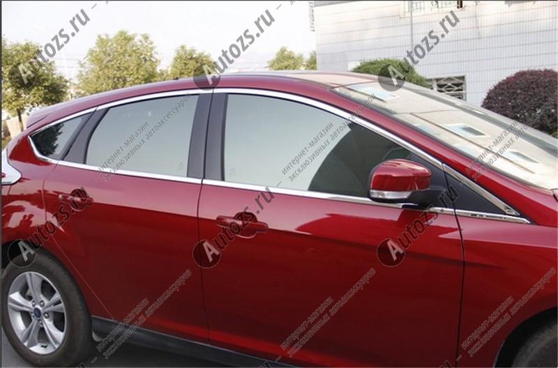 Молдинги окон Ford Focus 3 2011-2018 хэтчбек (12 молдингов)Хромированные накладки Ford Focus III<br>Молдинги относятся к наиболее распространенным элементам внешнего автомобильного тюнинга. Аксессуары выполняются в виде небольших выпуклых планок для декорирования боковых окон автомобиля. Накладки на окна двер...<br>