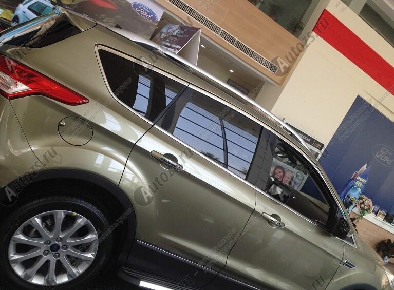 Молдинги окон Ford Kuga 2 2013+ (18 молдингов)Хромированные накладки Ford Kuga<br>Молдинги относятся к наиболее распространенным элементам внешнего автомобильного тюнинга. Аксессуары выполняются в виде небольших выпуклых планок для декорирования боковых окон автомобиля. Накладки на окна двер...<br>