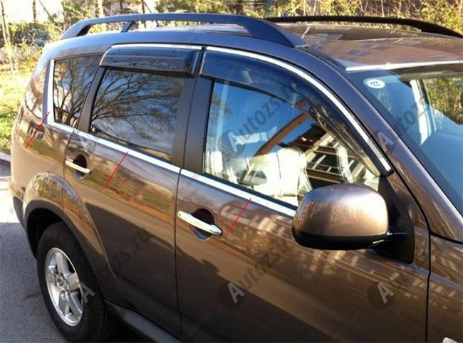 Молдинги окон Mitsubishi Outlander 2 2010-2012 (6 молдингов)Хромированные накладки Mitsubishi Outlander<br>Молдинги относятся к наиболее распространенным элементам внешнего автомобильного тюнинга. Аксессуары выполняются в виде небольших выпуклых планок для декорирования боковых окон автомобиля. Накладки на окна двер...<br>