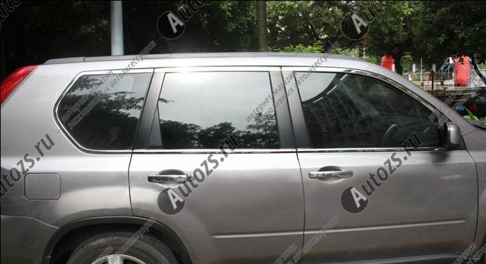 Молдинги окон Nissan X-Trail T31 2007-2015 (12 молдингов)Хромированные накладки Nissan X-Trail<br>Молдинги относятся к наиболее распространенным элементам внешнего автомобильного тюнинга. Аксессуары выполняются в виде небольших выпуклых планок для декорирования боковых окон автомобиля. Накладки на окна двер...<br>