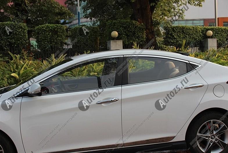 Молдинги окон Hyundai Elantra 5, Avante MD 2010-2015 седан (16 молдингов)Хромированные накладки Hyundai Elantra<br>Молдинги относятся к наиболее распространенным элементам внешнего автомобильного тюнинга. Аксессуары выполняются в виде небольших выпуклых планок для декорирования боковых окон автомобиля. Накладки на окна двер...<br>