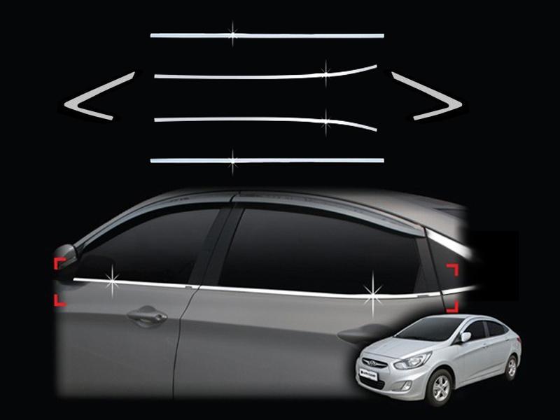 Молдинги окон Hyundai Solaris 1 2010+ (6 молдингов)Хромированные накладки Hyundai Solaris <br>Молдинги относятся к наиболее распространенным элементам внешнего автомобильного тюнинга. Аксессуары выполняются в виде небольших выпуклых планок для декорирования боковых окон автомобиля. Накладки на окна двер...<br>
