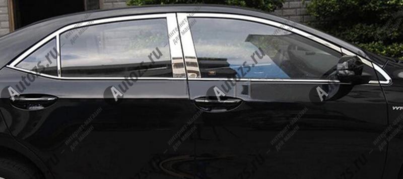 Купить со скидкой Молдинги окон Toyota Corolla E160 2013+ (16 молдингов)