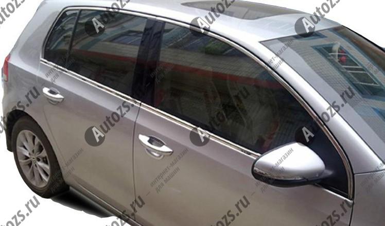 Молдинги окон Volkswagen Golf 6 2009-2012 (8 молдингов)Хромированные накладки Volkswagen Golf<br>Молдинги относятся к наиболее распространенным элементам внешнего автомобильного тюнинга. Аксессуары выполняются в виде небольших выпуклых планок для декорирования боковых окон автомобиля. Накладки на окна двер...<br>