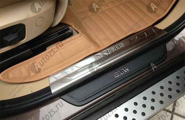 Накладки на пороги BMW X4 2014+ внутренниеХромированные накладки BMW X4<br>Металлические накладки предназначены специально для защиты штатных порогов автомобиля BMW X4. Производство накладок ведется по новейшим технологиям с применением высокопрочных нержавеющих сталей.<br><br>Накладки на пор...<br>