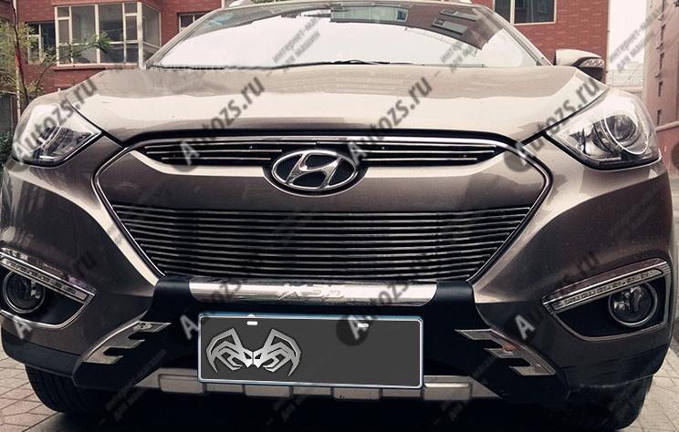 Хром решетка радиатора Hyundai ix35 2013+Хромированные накладки Hyundai ix35<br>Декоративные хром решетки разработаны специально для установки на автомобиль Hyundai ix35 они придают транспортному средству завершенный, уникальный образ и обеспечивают защиту установленной заводской решетки радиат...<br>