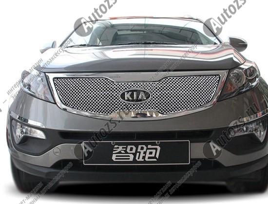 Купить Накладка хром сетка на решетку радиатора Kia Sportage 3 2010-2015