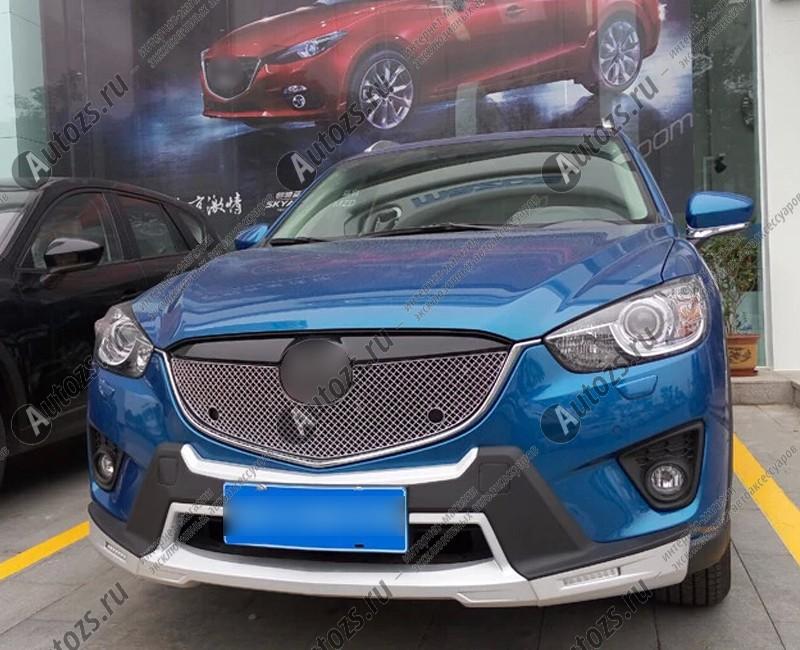 Накладка хром сетка на решетку радиатора Mazda CX-5 1 2011+ c отверстиямиХромированные накладки Mazda CX-5<br>Декоративные накладки разработаны специально для установки на решетку радиатора автомобиля Mazda CX-5.Они придают транспортному средству завершенный, уникальный образ и обеспечивают защиту установленной заводско...<br>