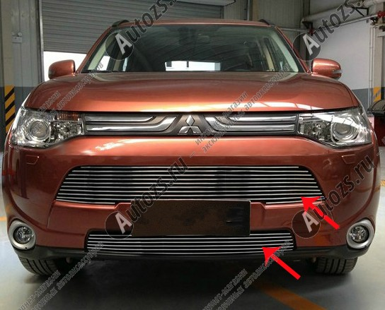 Купить Хром решетка радиатора (бампера) Mitsubishi Outlander 3 2012-2014
