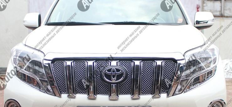 Накладка хром сетка на решетку радиатора Toyota Land Cruiser Prado 150 2013+