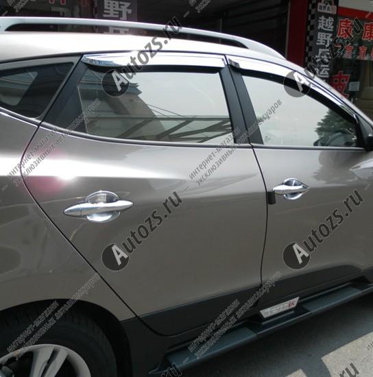 Накладки на дверные ручки Hyundai ix35 2010+Хромированные накладки Hyundai ix35<br>Хромированные аксессуары используются для установки на ручки дверей и декоративного оформления других деталей кузова автомобиля. Накладки также выполняют защитную функцию, предотвращая возникновения мелких цара...<br>