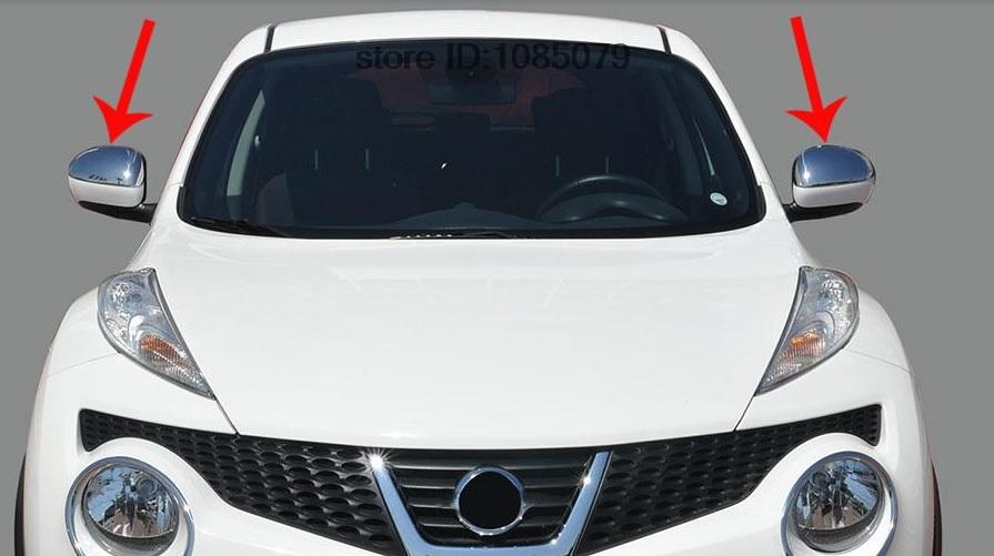 Накладки на зеркала заднего вида Nissan Juke YF15 2010-2014Хромированные накладки Nissan Juke<br>Использование накладок на зеркала придает автомобилю оригинальный и презентабельный вид, эффектно выделяя его из общего потока транспорта. Кроме того, плавные изгибы накладок повышают обтекаемость и улучшают аэро...<br>