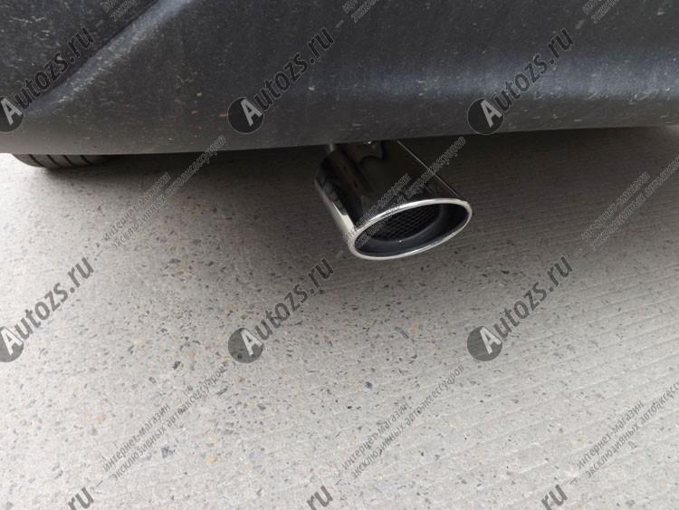 Насадка на выхлопную трубу Nissan Almera G15 2013+Хромированные накладки Nissan Almera<br>Универсальнаянасадка на выхлопную трубу предназначена для украшения экстерьера автомобиля. Аксессуар изготовлен из нержавеющей стали, которая обладает превосходными эксплуатационными характеристиками. Насадка...<br>